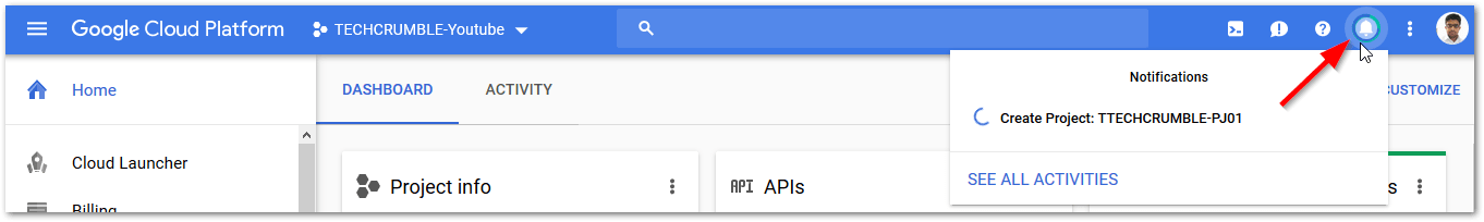 started with Google Cloud Platform : Bell Icon