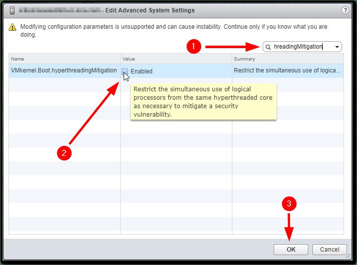 L1 Terminal Fault : enable parameter