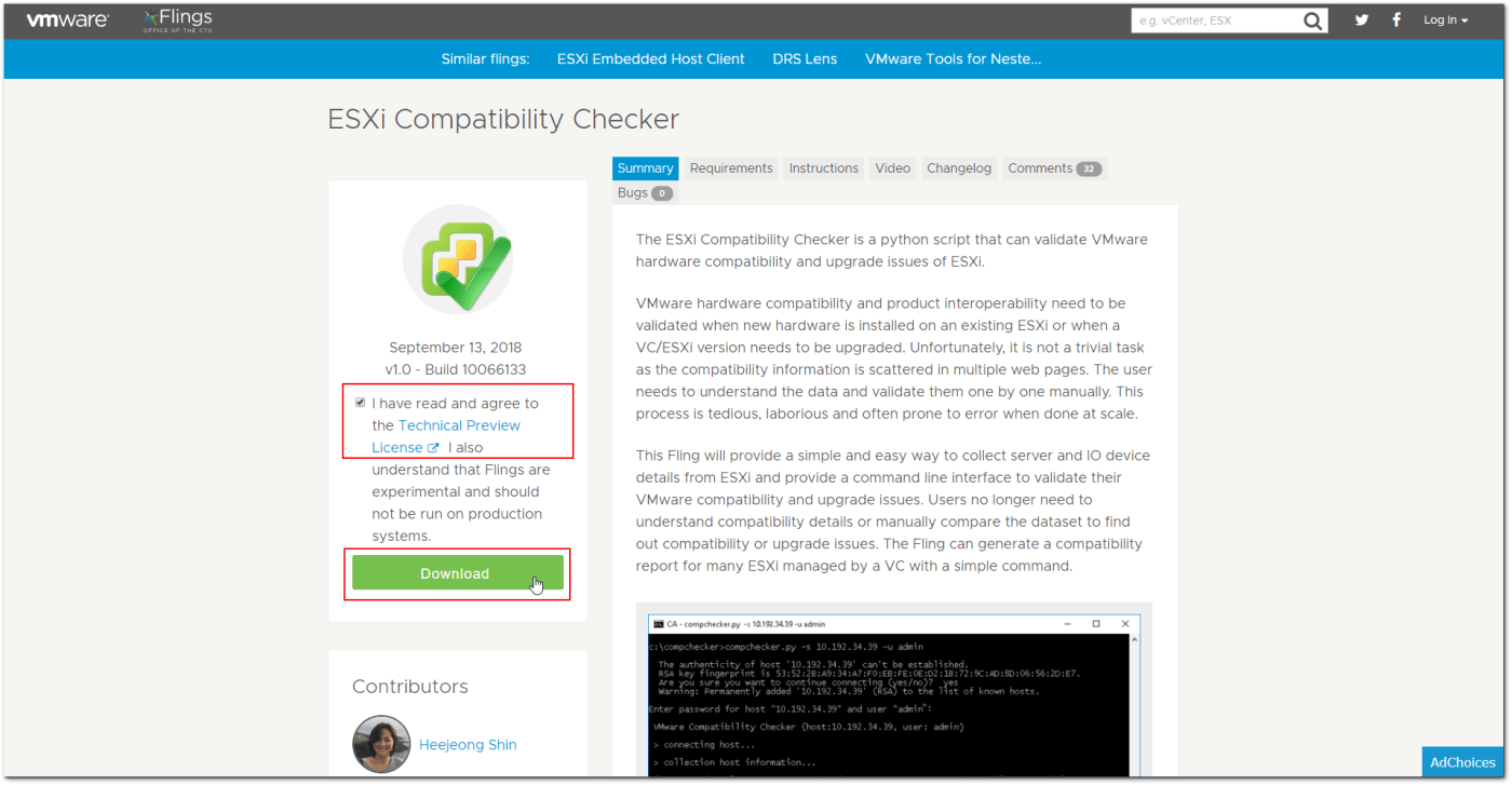 VMware Flings : ESXi Compatibility Checker Hands-On