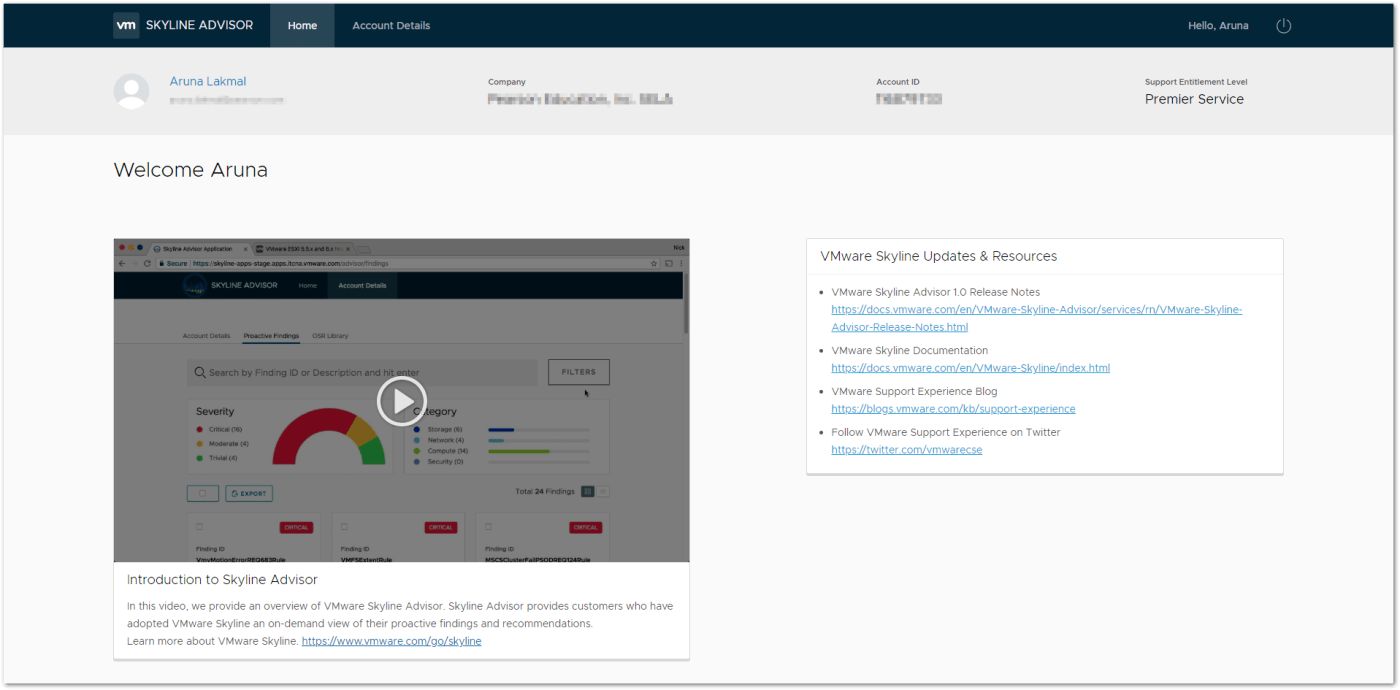 VMware Skyline Advisor : Home Page