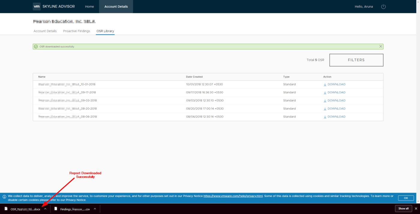 VMware Skyline Advisor : Report Downloaded