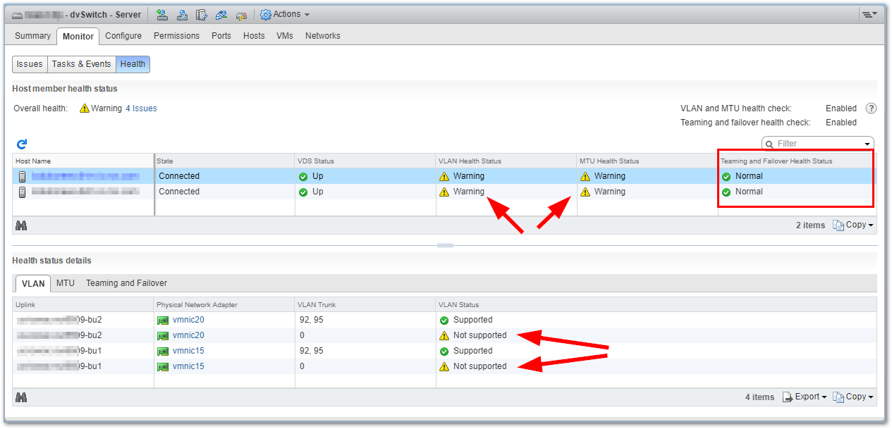 VMware vSphere Distributed Switch Health Check