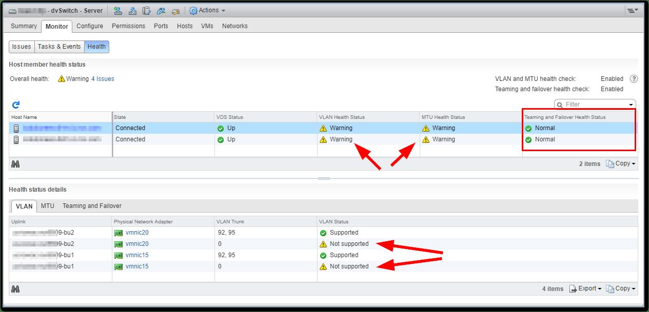 VMware vSphere Distributed Switch Health Check | TechCrumble
