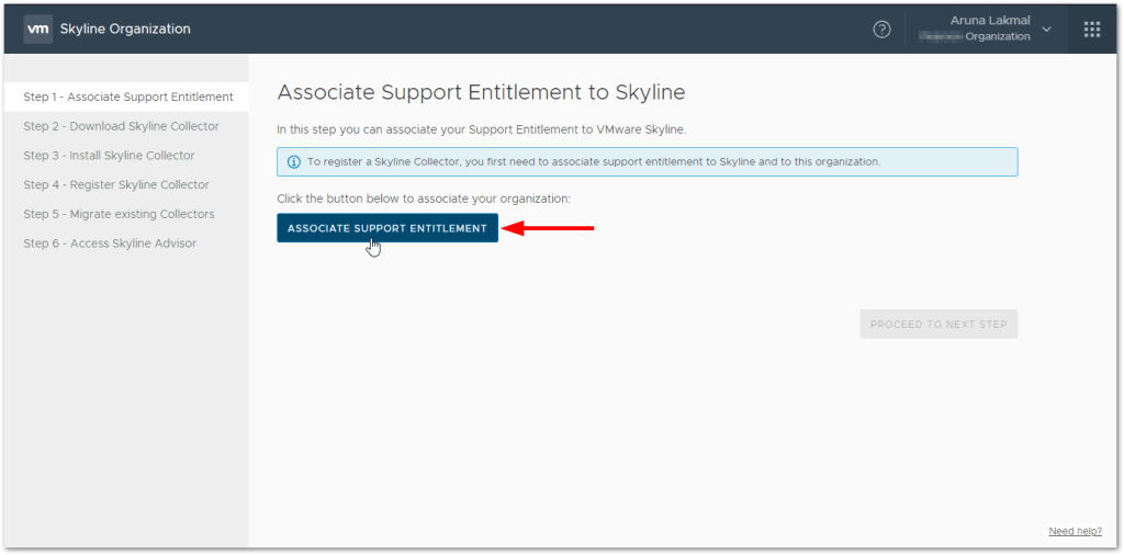 Token For VMware Skyline Collector : Associate Support Entitlement