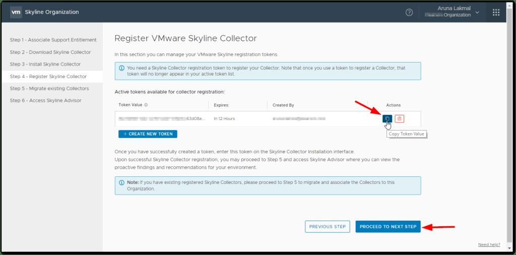 Token For VMware Skyline Collector : Copy the Created Token