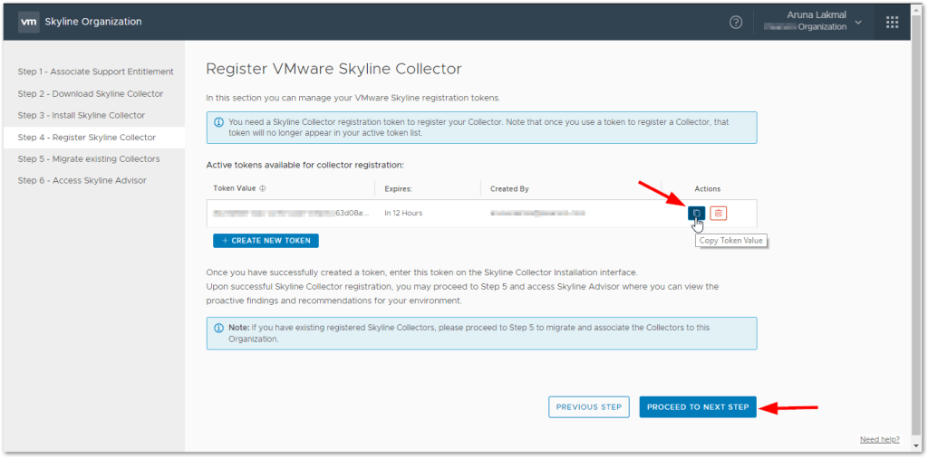 Token For VMware Skyline Collector : Copy the Created Token
