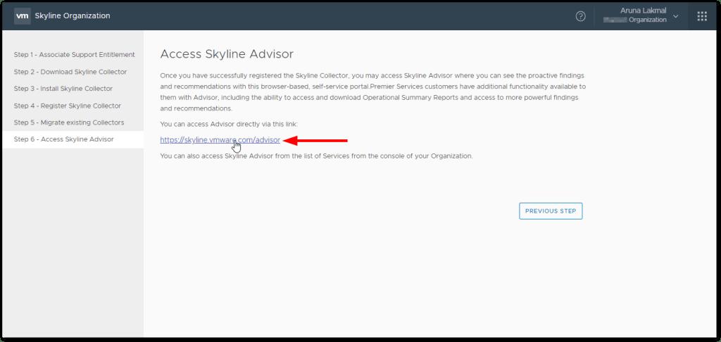 Token For VMware Skyline Collector : Advisor access link