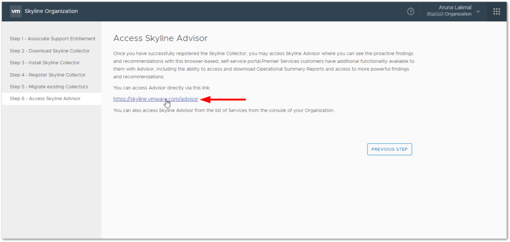 Token For VMware Skyline Collector : Advisor access link