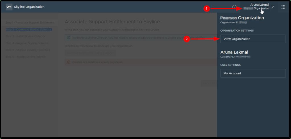 Token For VMware Skyline Collector :  View Organization