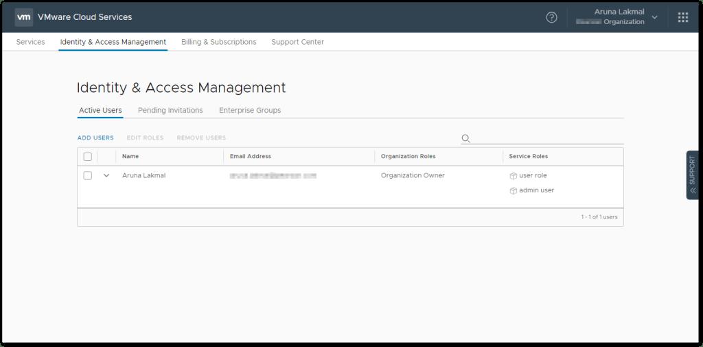 Token For VMware Skyline Collector : IAM Owner