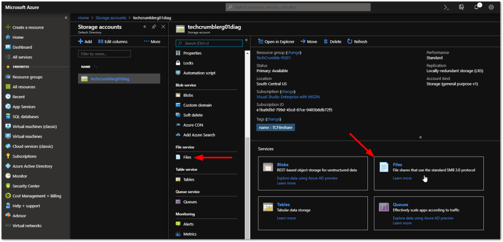 "Create An Azure File Share : Click on ""Files"""