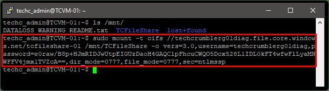 Create An Azure File Share : Mount the File Share