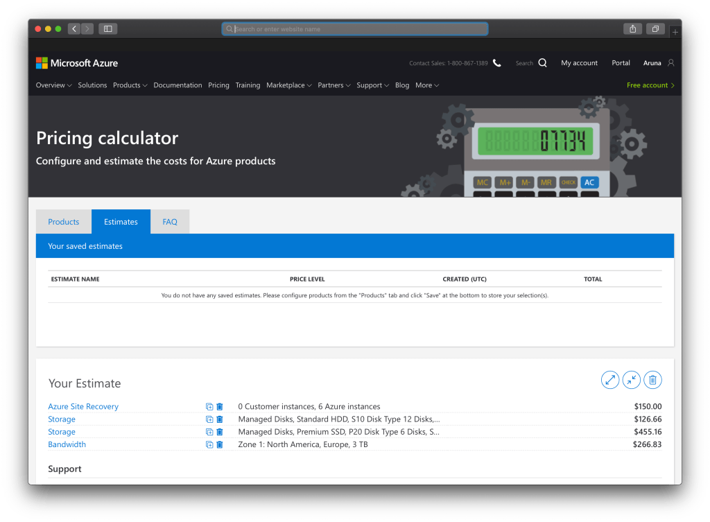 How To Use Microsoft Azure Pricing Calculator : Saved Estimations