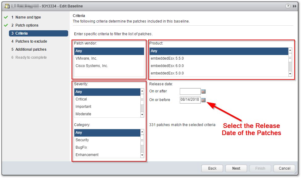 Patch An ESXi Host To A Specific Build Number : Create Patch Baseline