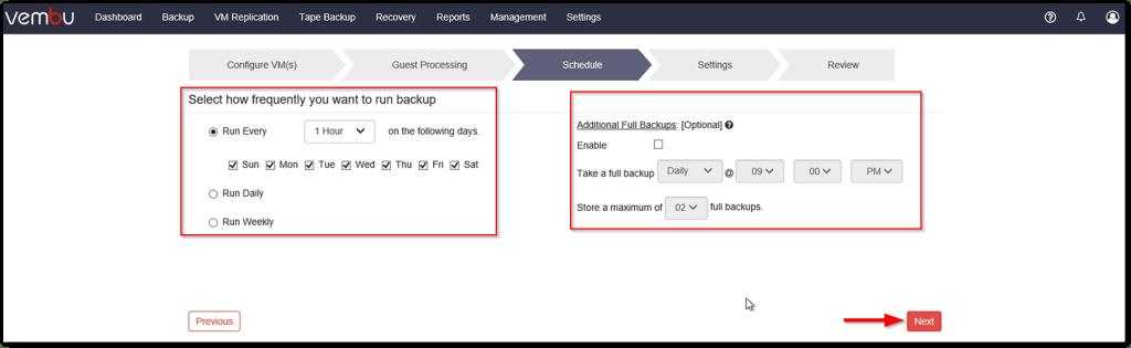 Vembu BDR v4 : Backup Scheduler
