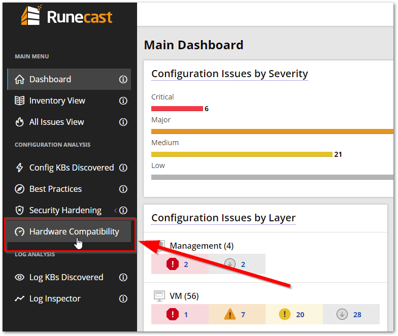 Runecast Analyzer Added VMware HCL Support : Access HCL Compatibility