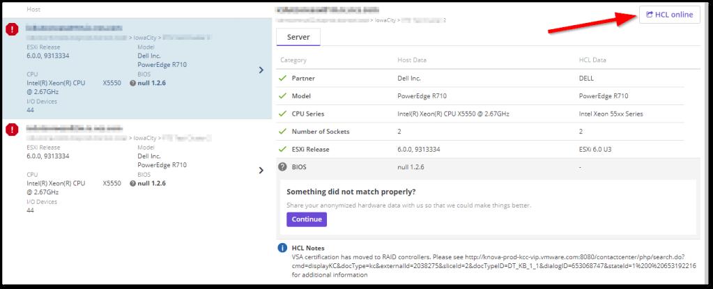Runecast Analyzer Added VMware HCL Support : Access online HCL