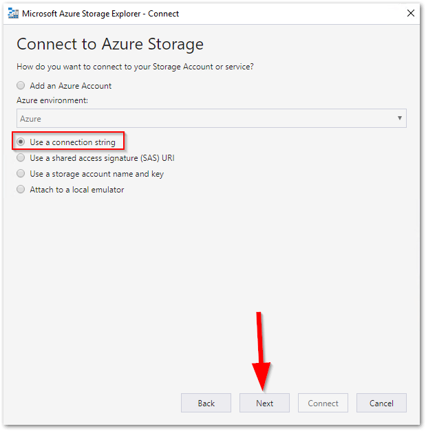 Microsoft Azure Storage Explorer : Connect