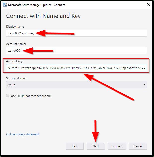 Microsoft Azure Storage Explorer : Account Key