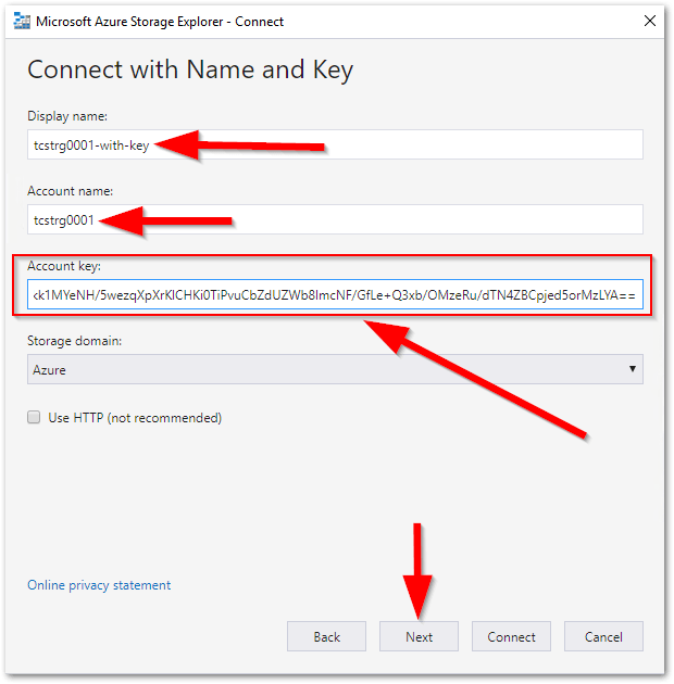 Microsoft Azure Storage Explorer : Account Key