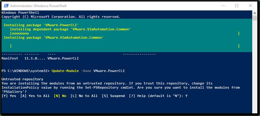 PowerCLI 11.2 Released : Update modules in progress