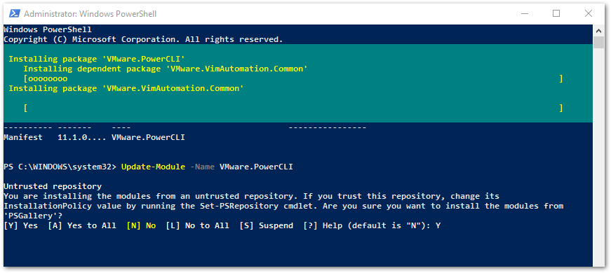 PowerCLI 11.2 Released : Update modules in progress