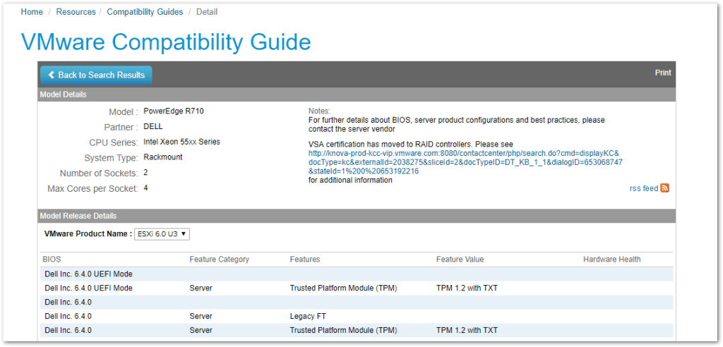 Automated VMware HCL : Official VMware HCL