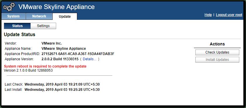 VMware Skyline V2.1 : reboot