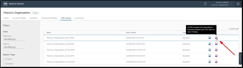 VMware Skyline V2.1 : .zip file is available
