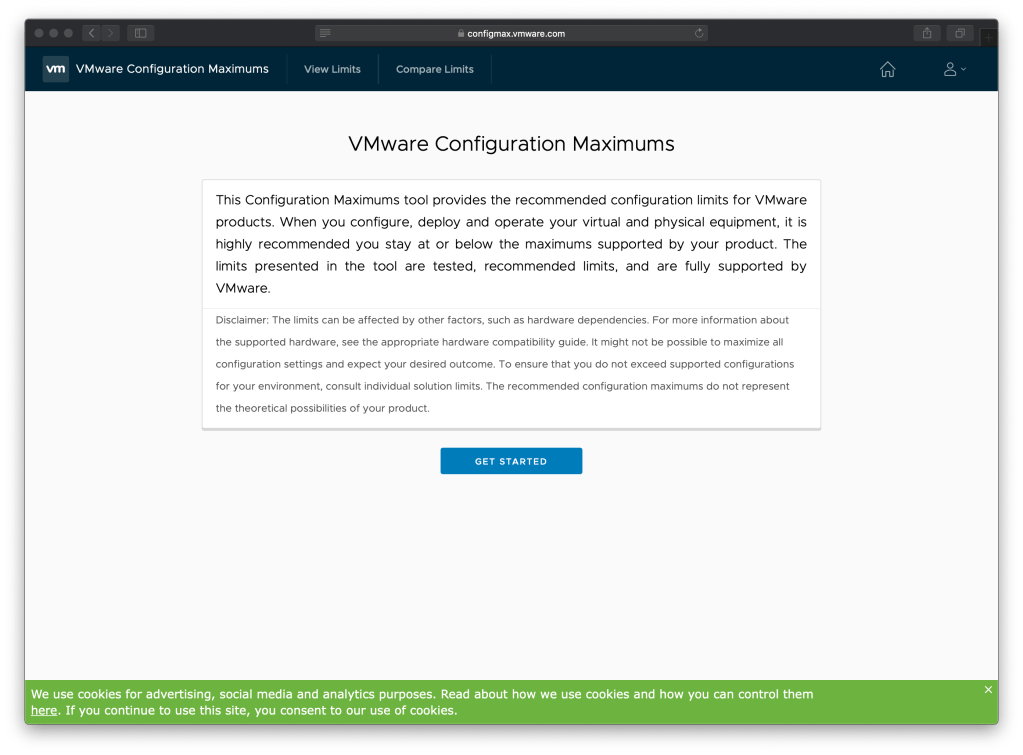 VMware Configuration Maximums Get Started