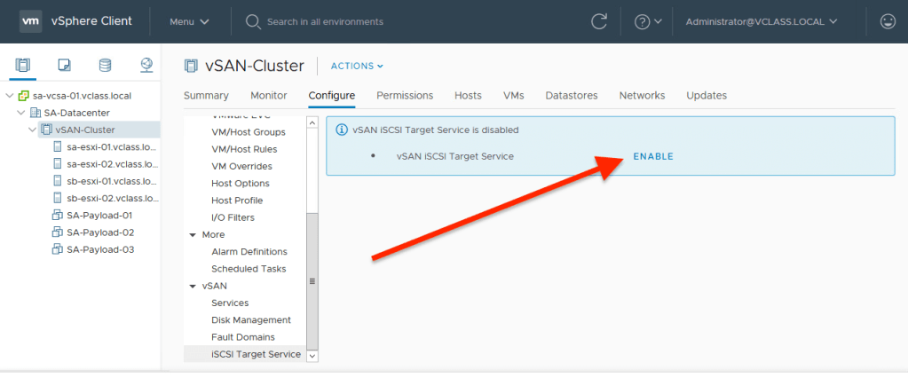 VMware vSAN iSCSI Target Service Not Supported : At Least
