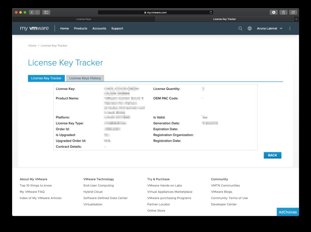 VMware License Key Tracker view more info