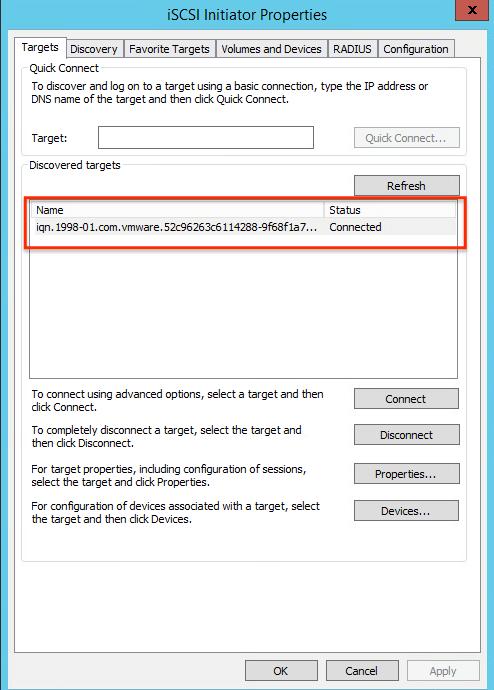 VMware vSAN iSCSI Target Service Successfully configured