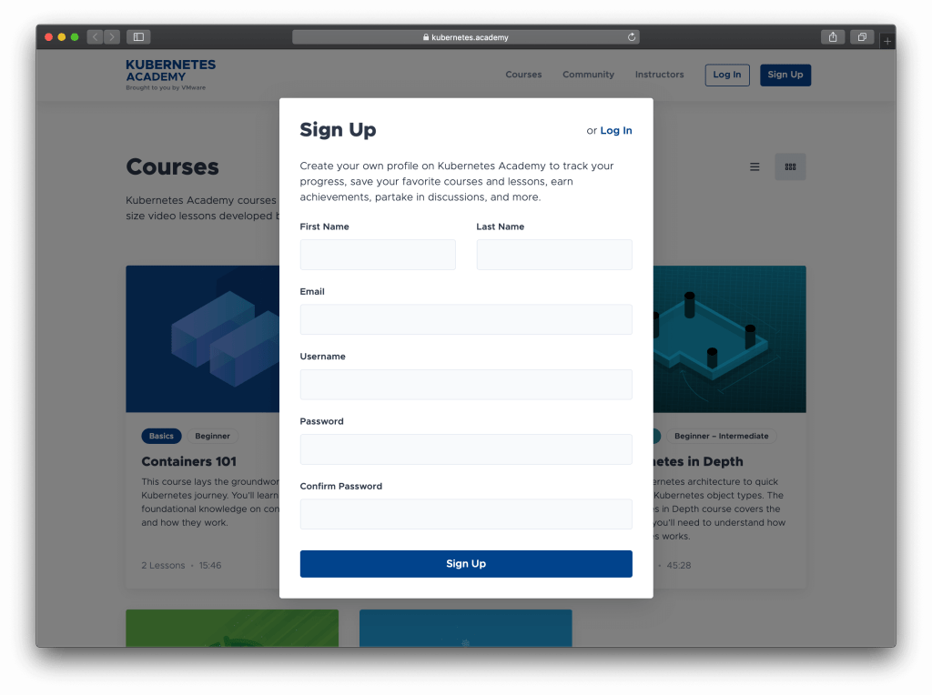 VMware Kubernetes Academy sign up