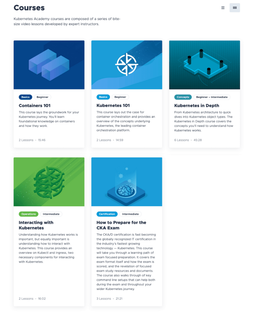 VMware Kubernetes Academy courses