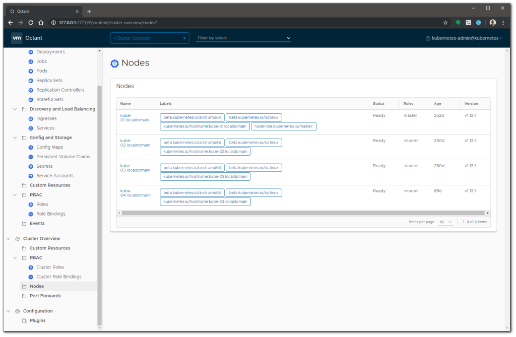 VMware Octant node output