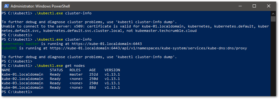 install kubectl on Windows commands succeeded