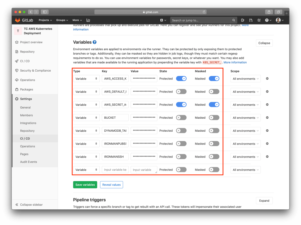 Kubernetes Cluster With Terraform, Ansible And GitLab CI variables
