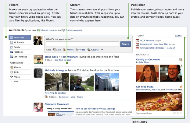 Facebook redesign: new homepage