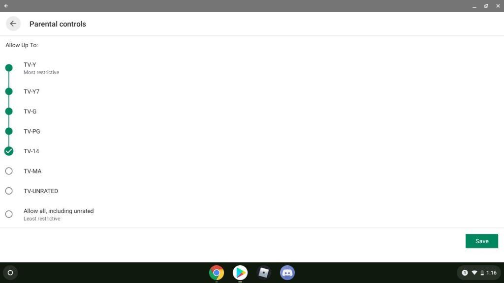 google parental controls screenshot