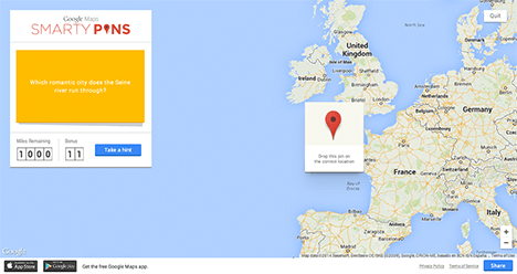 Google launch smarty pins map trivia game tech digest map pin to the place the game is looking for and youll be awarded points based on how close you got a bit like geoguessr but with a quiz element on gumiabroncs Image collections
