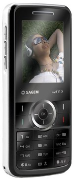 Sagem My411x candy bar mirrored mobile phone