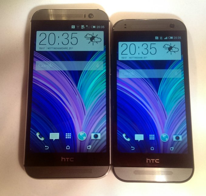 HTC One Mini 2 on the right, HTC one M8 on the left