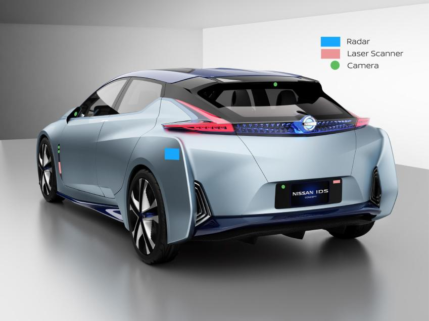 The rear of the Nissan IDS Concept with radars and scanners to avoid collisions