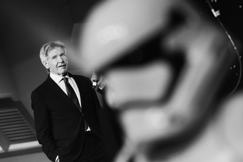 """LONDON, ENGLAND - DECEMBER 16: Harrison Ford attends """"Star Wars: The Force Awakens"""" European Premiere >> at Leicester Square on December 16, 2015 in London, England. (Photo by Vittorio Zunino Celotto/Getty Images for Walt Disney)"""