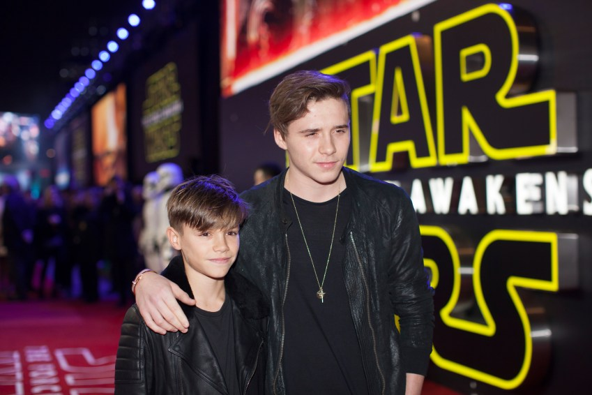 LONDON, UK - DECEMBER 16: Brooklyn and Harper Beckham attend the European Premiere of the highly anticipated Star Wars: The Force Awakens in London on December 16, 2015.
