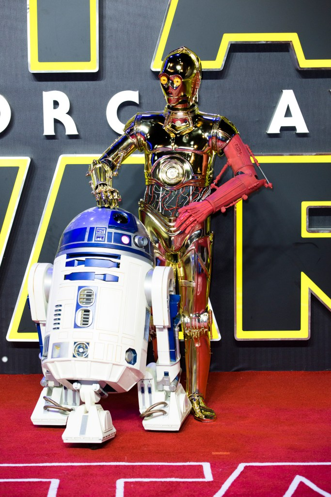 LONDON, UK - DECEMBER 16: R2D2 and C3PO attend the European Premiere of the highly anticipated Star Wars: The Force Awakens in London on December 16, 2015.