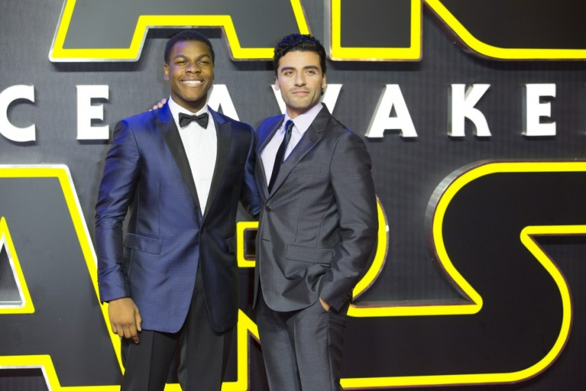 LONDON, UK - DECEMBER 16: Actors John Boyega and Oscar Isaac attend the European Premiere of the highly anticipated Star Wars: The Force Awakens in London on December 16, 2015.