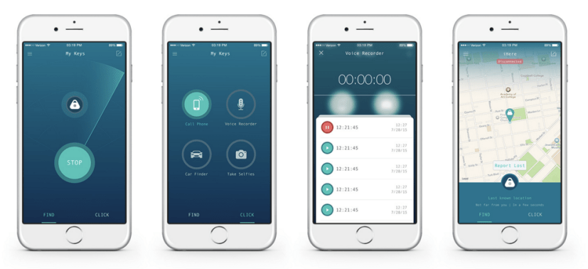 You can use the iHere in two modes - find mode or click mode