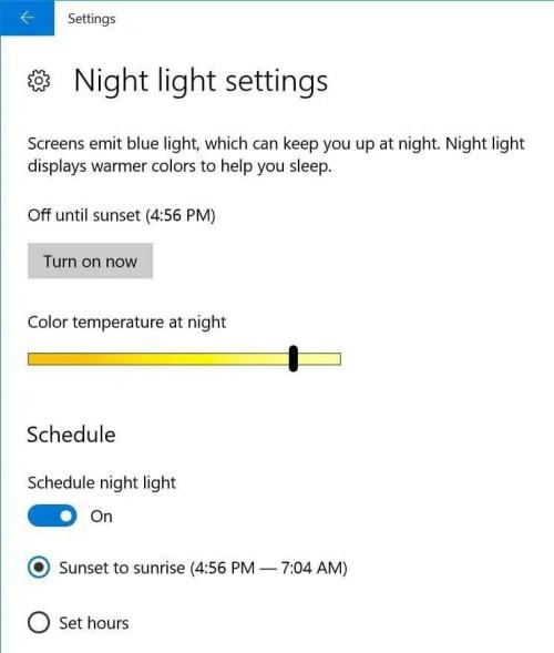Windows-10 Night Light Setting